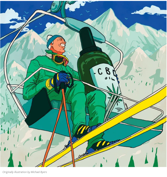 An illustration of a skier on a lift with a bottle of CBD.