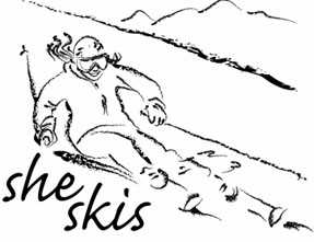 A hand-drawn image of a woman skiing is the logo for She Skis.